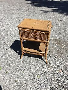 Antique wicker side table  or sewing basket