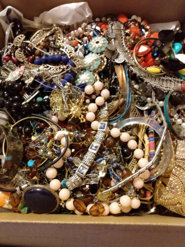 Vintage to Modern Jewelry Craft/Tangled LFR  box Estate Find 15 lbs