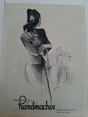 1940s women's Handmacher suit Nichols illustration art vintage ad