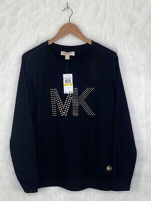 Womens Michael Kors MK Gold StudLong Sleeve T-Shirt Top BlackSize Medium