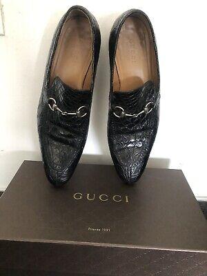 Gucci Jordaan Men's Crocodile Horsebit Loafers