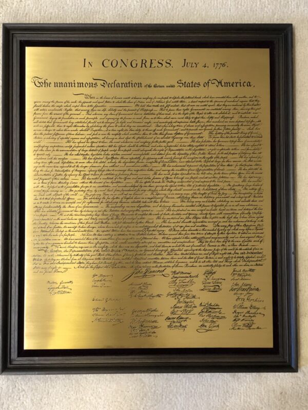 🇺🇸👍🇺🇸 Vintage DECLARATION OF INDEPENDENCE ❤️ Engraved Brass Plaque ❤️ RARE