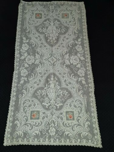 "Antique petite net work organdy embroidered runner scarf doily 16"" x 40"" vtg"