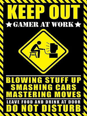 keep out gamer at work Retro metal Aluminium Sign vintage