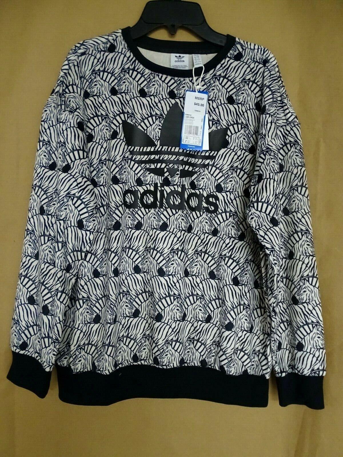 NEW adidas Big Girls Originals Sweatshirt S,L,XL Zebra-Print