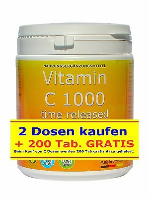 VITAMIN C 1000mg Bioflavonoide TIME RELEASED 500 Tabletten Made in Germany VEGAN