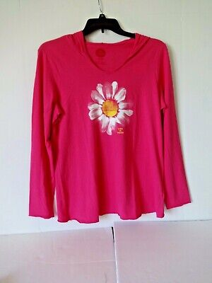 Life Is Good womens hooded T shirt size Large painted daisy bold pink