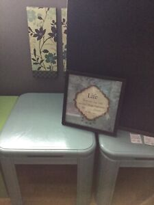 2 soft jade side tables - available -