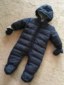 Baby snowsuit 6 months with mittens winter warm navy blue