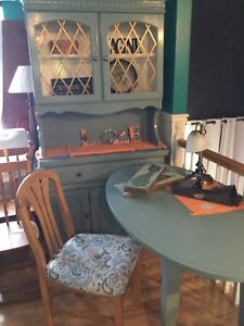 Oval green blue desk