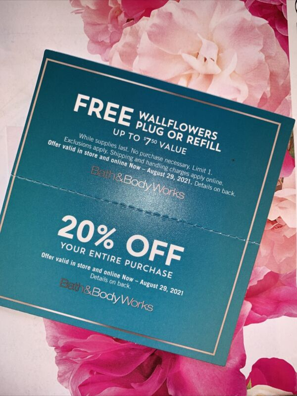 Bath Body Works 20% Off Coupon Discount+Wallflowers Plug Fragrance Refill 8/29