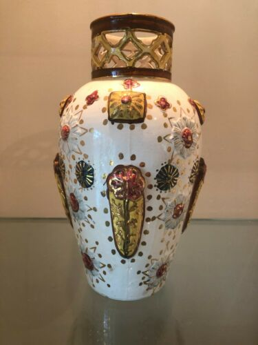 Early ZSOLNAY PECS Hungarian BEJEWELLED Pottery RETICULATED VASE