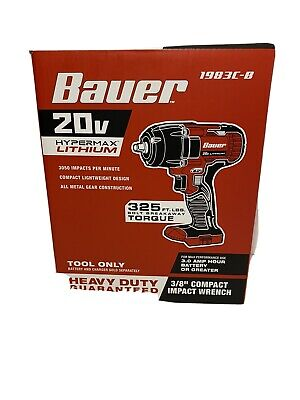 """1782C-B Tool Only Bauer 20V Hypermax Lithium 1//2/"""" Impact Wrench"""