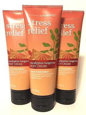 3 BATH & BODY WORKS AROMATHERAPY STRESS RELIEF EUCALYPTUS TANGERINE CREAM - Aromatherapy Citrus Body Lotion