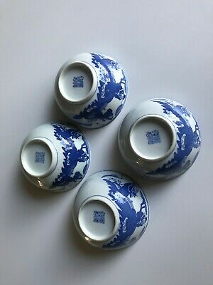 4 Chinese Blue White Porcelain Bowls Figure Pattern And Four Character  Stamped