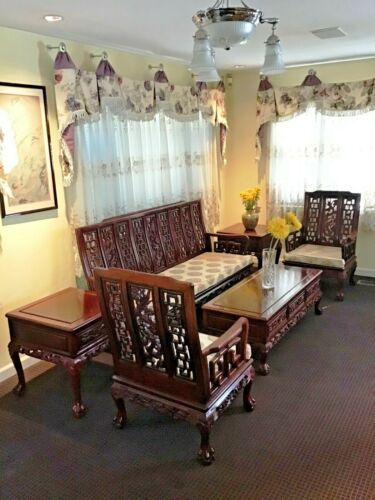 Chinese Rosewood 6 piece Sofa set Armchair Coffee Table Side Table