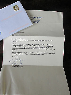 LETTER FROM ZARA PHILLIPS - REFERS TO HORSES AND CAREER