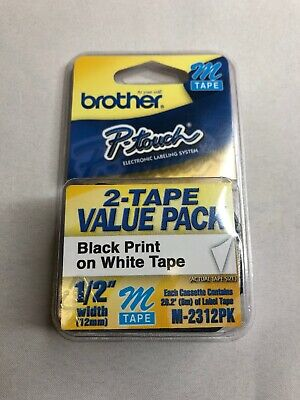 Double Pack - Brother P-touch M-tape 12 Inch - Black On White -- Mk-2312pk