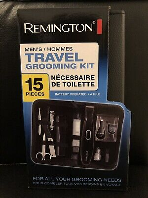 Remington TLG110 men's Trimming/Grooming travel kit with Nose & Ear Trimmer 15PC Mens Grooming Kit