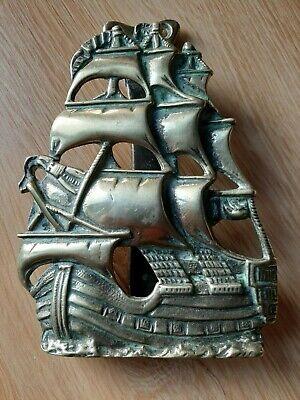 Vintage ELPEC Brass Door Knocker Galleon Ship Reg.No.