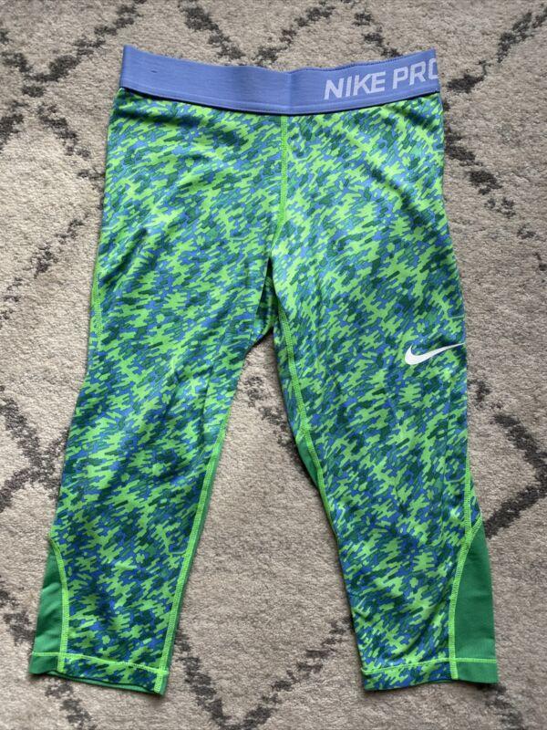 NIKE Pro Girls DRI-FIT Training Capri Green Blue Leggings Medium