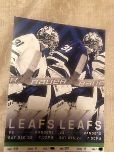 Leafs vs Rangers Saturday December 22nd