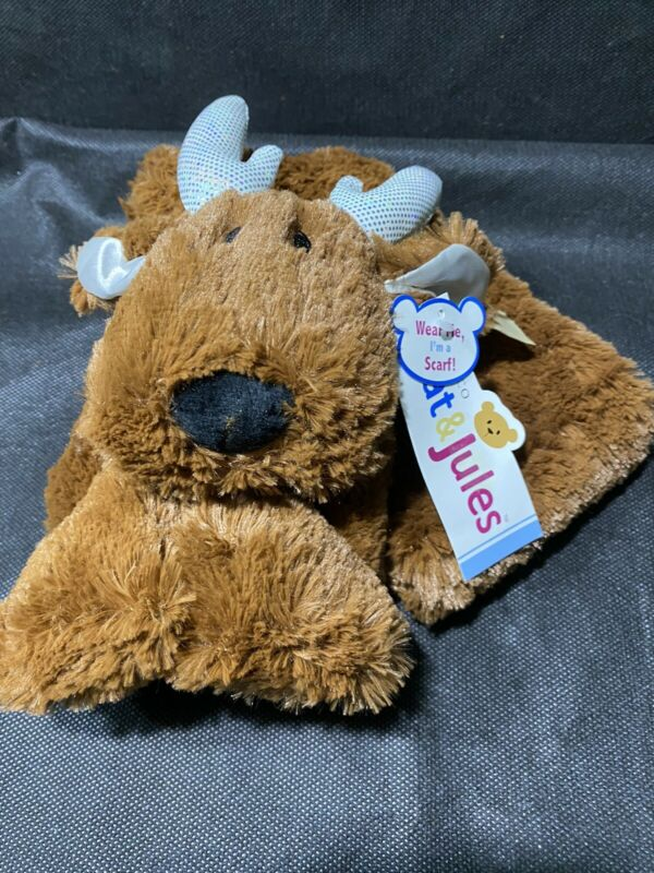 Demdaco Nat & Jules Plush Reindeer Scarf New With Tags