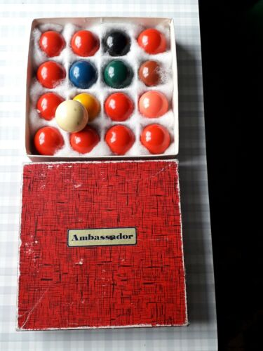 Set of Ambassador Antique Pool Balls in Original Box - 1 and 3/4 inch