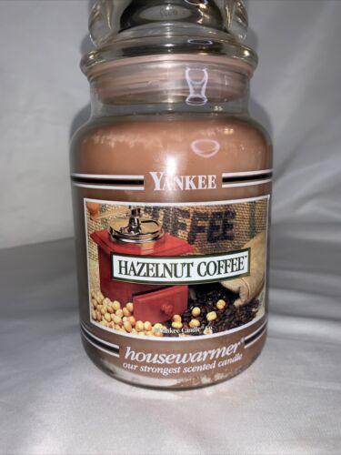 NEW Yankee Candle HAZELNUT COFFEE Large 22 Oz Jar WHITE LABEL Black Band - $49.99