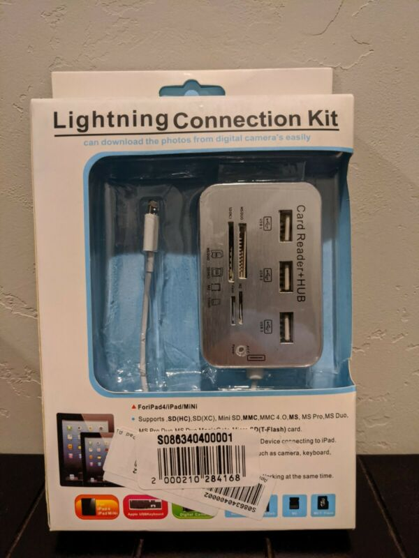 Lightning connection kit Card Reader + USB Hub Apple and Windows New PC and MAC