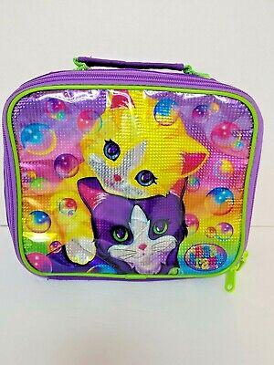 Vtg Lisa Frank Playtime Kittens Bubbles Cat Shimmer Lunch Bag Lunch Box Purple