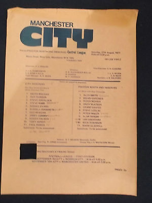 Manchester City v Preston North End 27/8/77 Reserve match programme