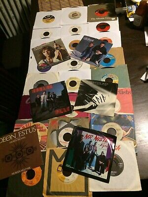"45 RPM LOT OF 30 VINYL 7"" 70'S 80'S ABBA FRAMPTON BROTHERS STOMP LAUPER BREAD"