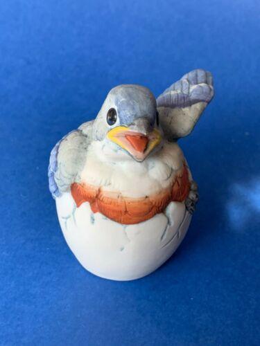 Vintage 1990 Andrea by Sadek Japan Baby Bluebird Hatching Figurine