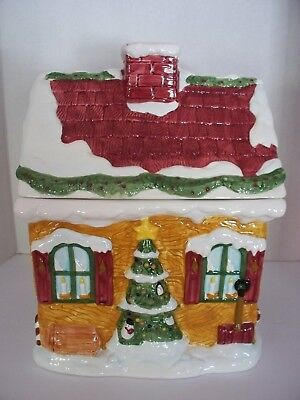 Christmas House Cookie Jar Holiday Winter Snowman Candy Cane by Cooks Club