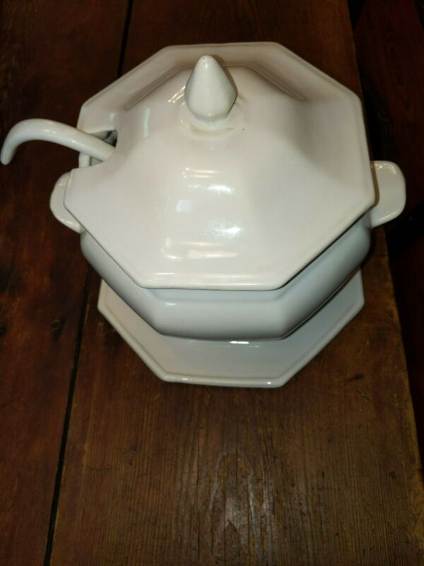 Small White Ceramic Soup Tureen With Platter And Ladle