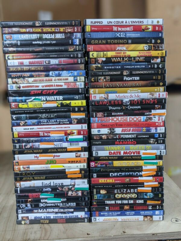 60+ DVD Lot - Wholesale / Bulk DVDs Lot - A-List DVD Movies - Assorted Genres