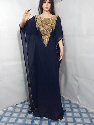 NAVY BLUE FARASHA KAFTAN FANCY DUBAI ABAYA CAFTAN DRESS BY MS CREATION 2019