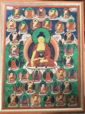 19c Antique Tibetan/Mongolian buddhism 35 Buddhas Thangka #1791101