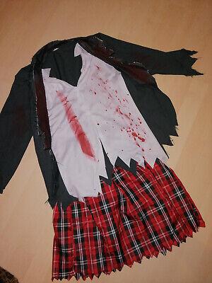 Fasching Karneval Kostüm Gr.146 152 Schulmädchen Horror Blut Zombie