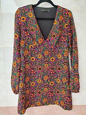Zara Trafaluc Boho Bohemian Floral Print Mini-Dress/Tunic Size M