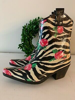 NOMAD Ankle Rain Boot YIPPY Cowboy Boots Floral Rose Girls Size LG 1 or 2 👣ks4