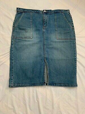 GAP Jeans Medium Wash Blue Stretch Denim Knee Length Skirt Front Slit,Sz.12