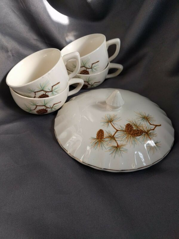 W.S. George Pinecone Coffee Cup Set Of 4 and Casserole Cover
