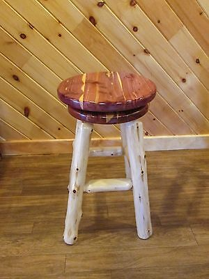 "Rustic Red Cedar Log 24"" Counter Height Swivel Kitchen Stool- Amish Made in USA for sale  Home"