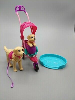 Barbie Strollin' Pups Playset with Taffy Dog Puppy Stroller Bed and Tote #CNB21