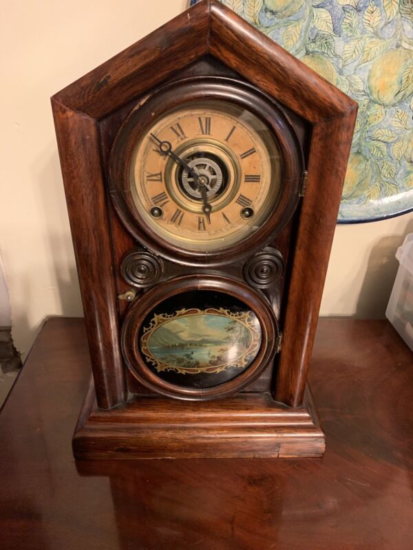 Ingraham Mantle/shelf clock 1878 Painted Glass, Ornate Brass Pendulum