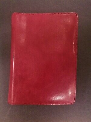 Franklin Covey Classic Leather Zipper Binder - Red - 1 Rings