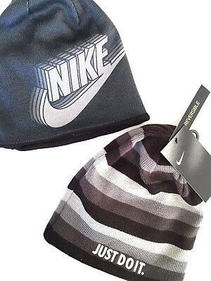 Nike Reversible Beanie Youth Grey Black Hat MSRP $22 NEW Just Do It embroidered