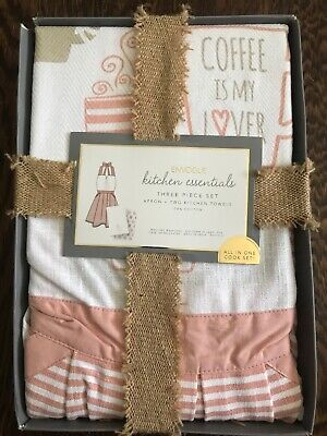 NEW ENVOGUE PRINT APRON AND TOWEL GIFT SET Coffee Is My Lover Free -